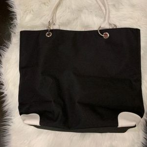 LANCOME BLACK TOTE BAG W/ White Trim & Handles